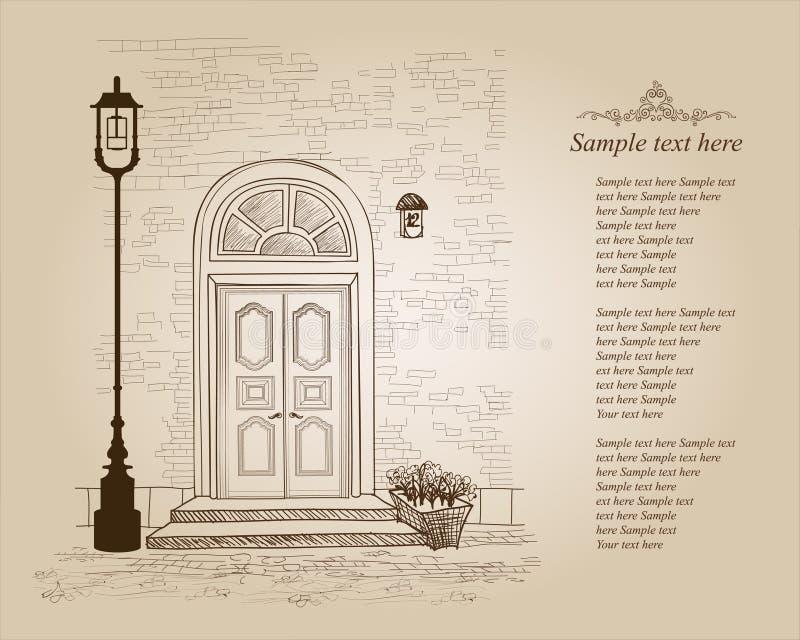 Maison d'Européen d'entrée principale Maison urbaine élégante de Londres Étable de vintage illustration stock