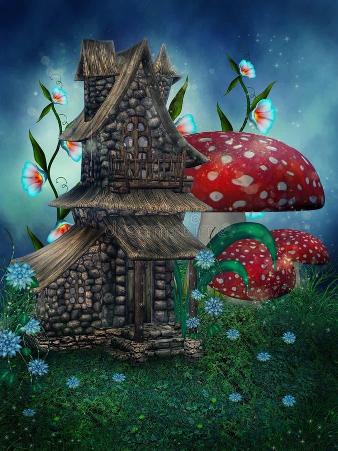 Maison d'imagination avec des champignons de couche illustration stock