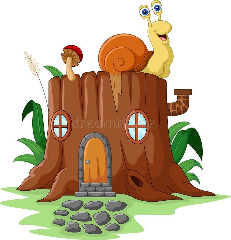 Maison d'imagination avec l'escargot illustration de vecteur