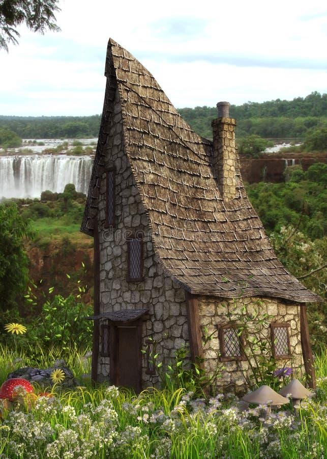 Maison d'imagination dans la forêt avec la cascade illustration libre de droits