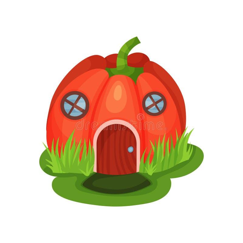 Maison d'imagination de bande dessinée dans la forme du potiron rouge avec les fenêtres rondes et la porte en bois Monde magique  illustration libre de droits