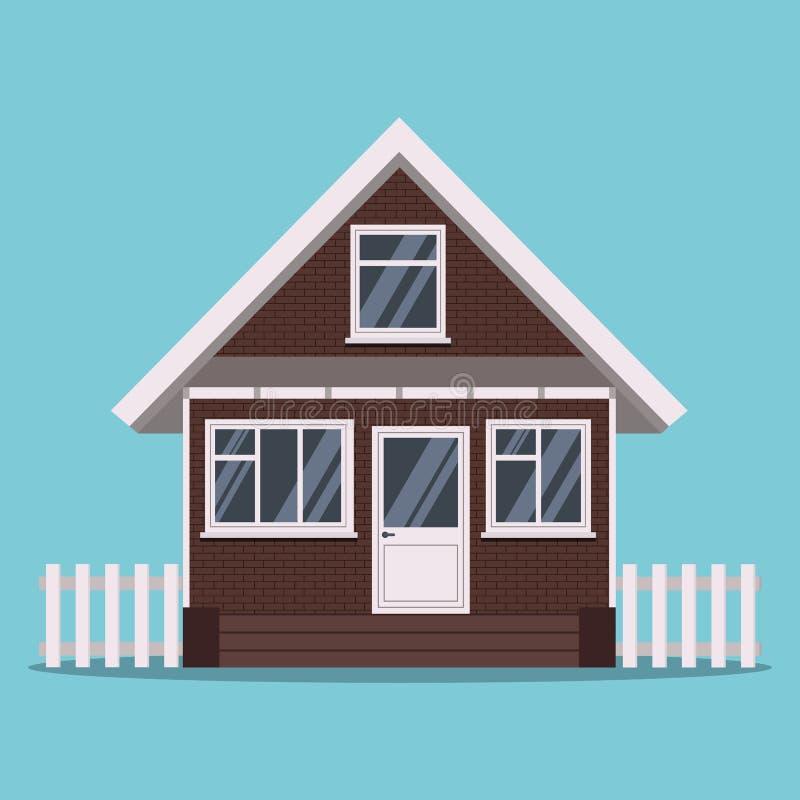 Maison d'isolement de brique de ferme de pays avec la barrière et les fenêtres blanches en plastique dans le style plat de bande  illustration de vecteur