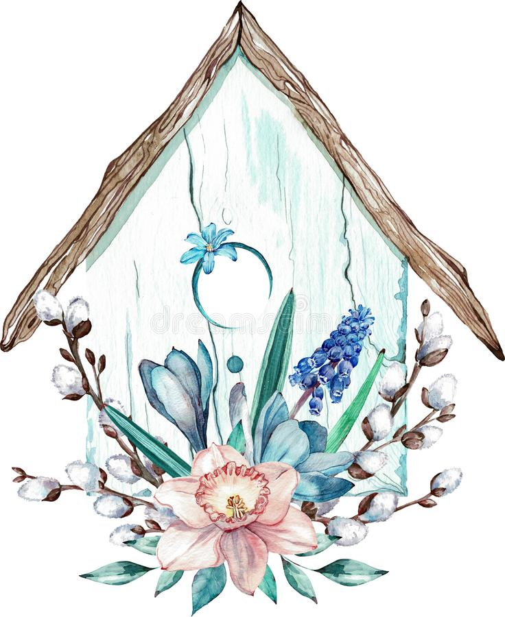 Maison d'oiseau de Pâques avec des branches de fleurs de ressort et de saule de chat Illustration d'aquarelle d'isolement sur le  illustration libre de droits