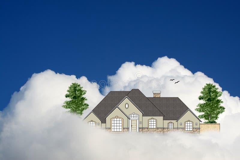 Maison dans le ciel photo stock