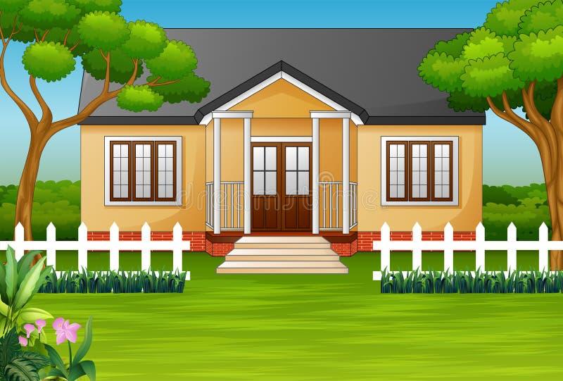 Maison de bande dessinée avec la cour verte et la barrière en bois illustration de vecteur