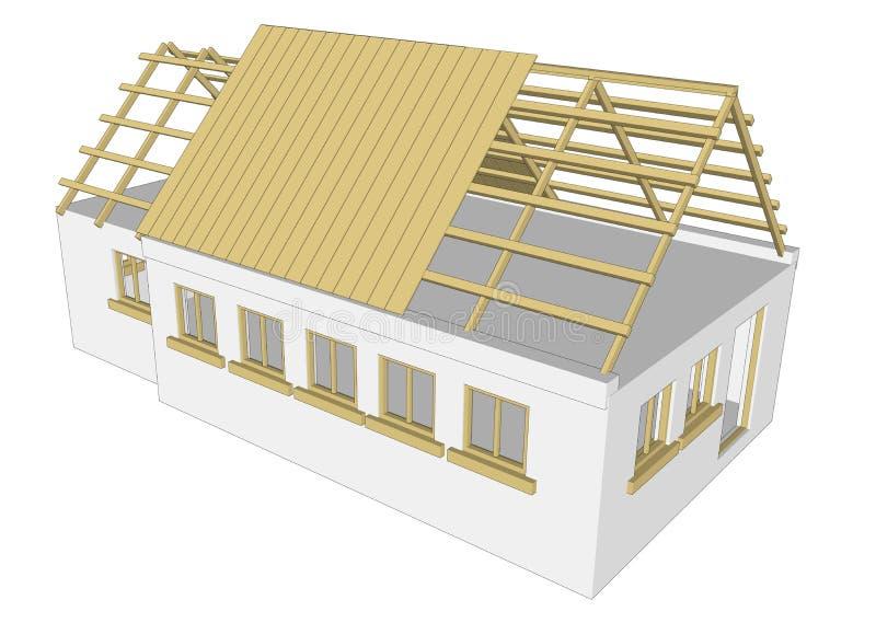 Maison de blanc de cottage de vecteur illustration libre de droits