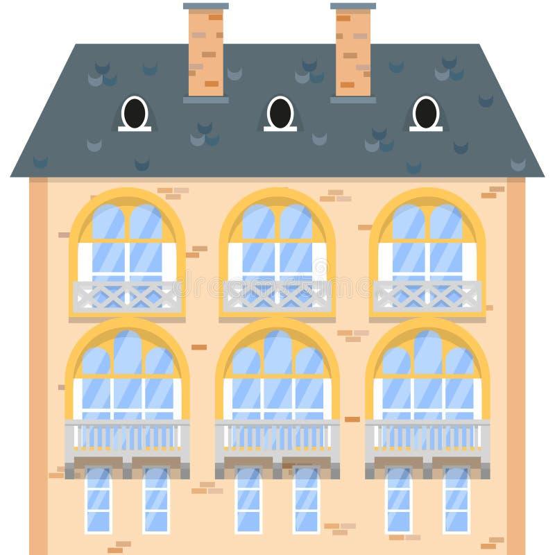 Maison de brique d'isolement sur le fond blanc illustration de vecteur