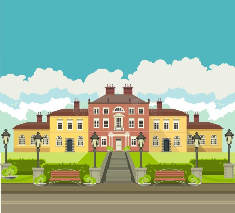 Maison de campagne avec le parc illustration stock