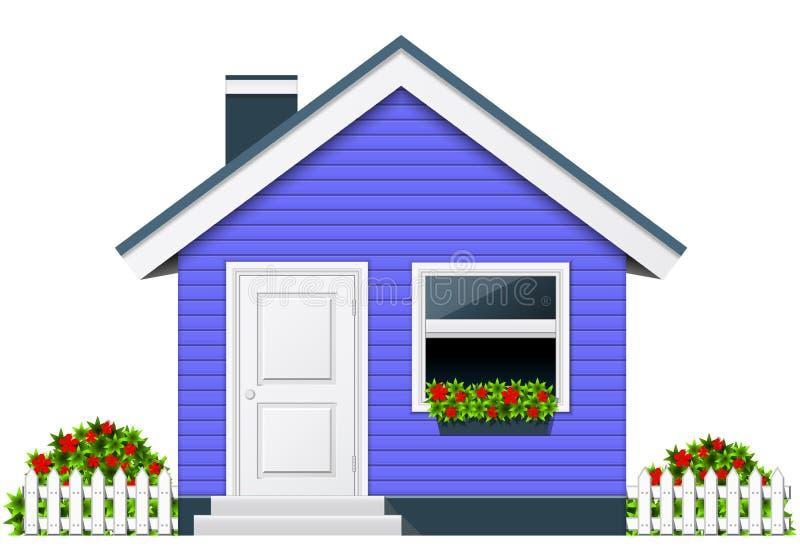 Maison de campagne bleue - cottage rural illustration libre de droits