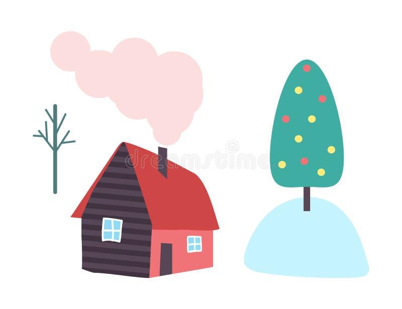 Maison de campagne, cheminée et fumée de vecteur de tuyau illustration de vecteur