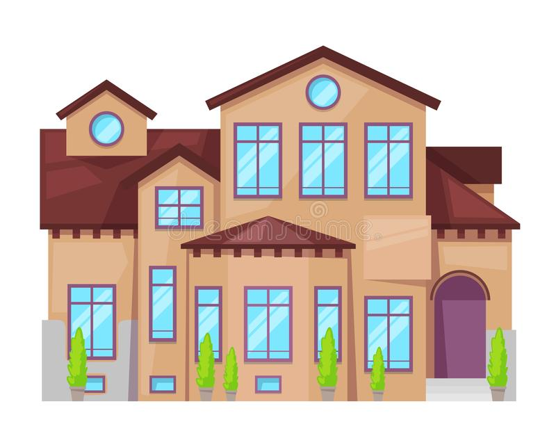 Maison de campagne colorée, cottage de famille, immobiliers dans le style provincial illustration de vecteur