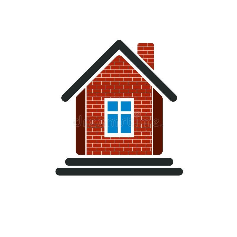 Maison de campagne construite avec les briques rouges, immobiliers créateur illustration stock