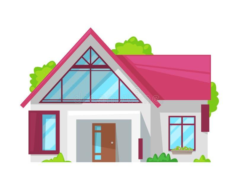 Maison de campagne, cottage de famille, immobiliers, maison de vacances avec le complot illustration de vecteur