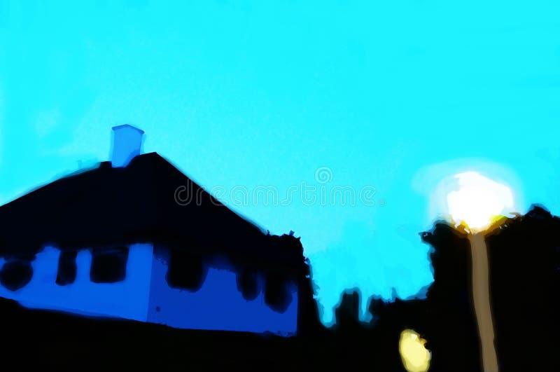 Maison de campagne soirée La lanterne brûle photographie stock