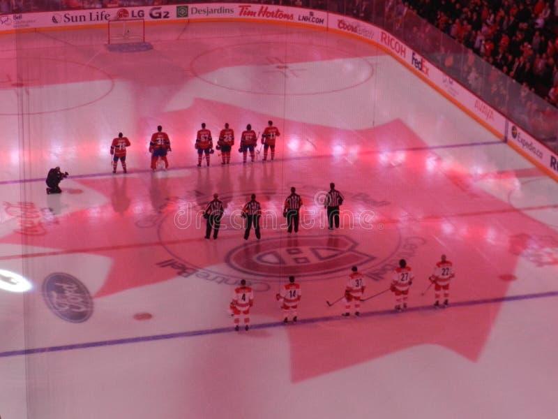 Maison de Canada de Montréal du Canadiens Habs jouant au centre de Bell de centre images libres de droits