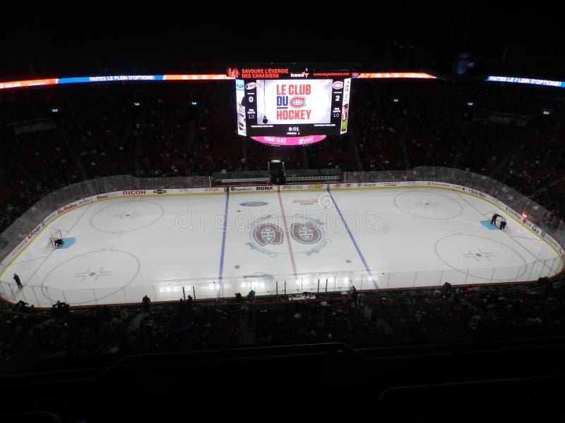 Maison de Canada de Montréal du Canadiens Habs jouant au centre de Bell de centre (après jeu) photos libres de droits