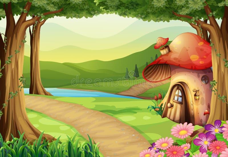 Maison de champignon dans les bois illustration stock