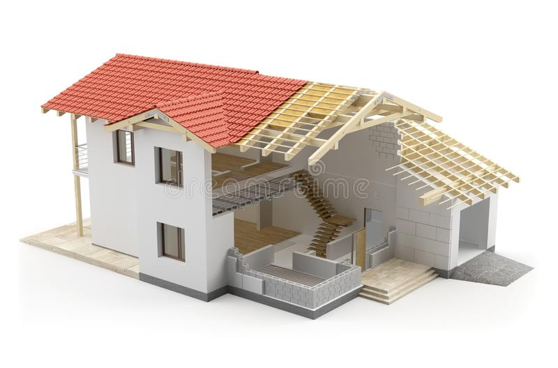 Maison de construction, illustration 3D illustration de vecteur