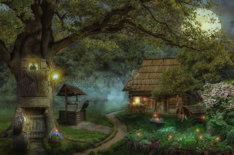 Maison de conte de fées dans la forêt illustration stock