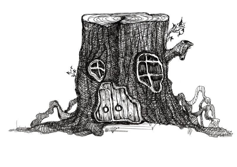 Maison de conte de fées dans un tronçon d'arbre illustration libre de droits