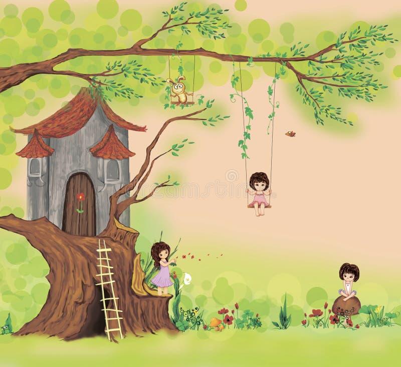 Maison de conte sur un arbre images libres de droits