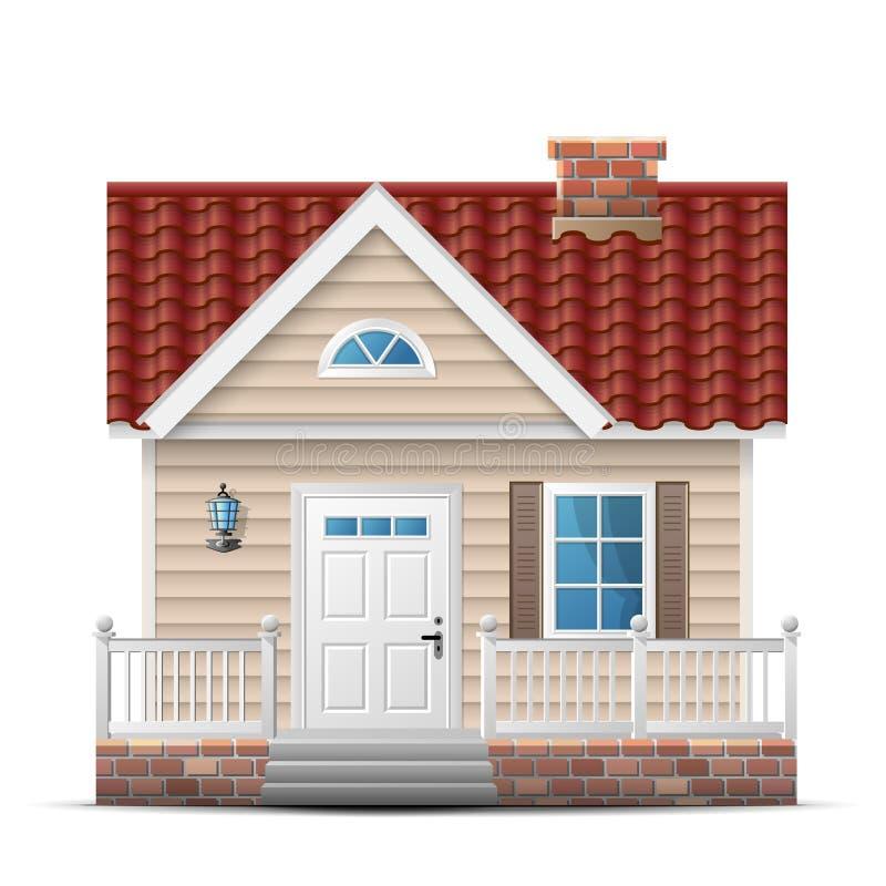 Maison de couleur avec le porche illustration de vecteur for Maison avec porche