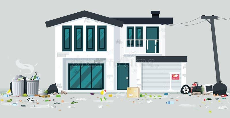 Maison de déchets illustration stock