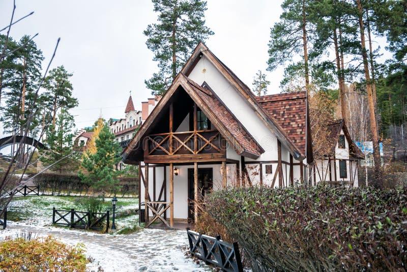 Maison de Fachwerk en hiver photo libre de droits