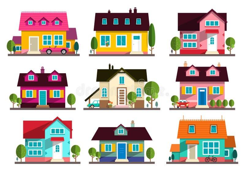 Maison de famille Icônes plates de bâtiments de conception de vecteur illustration de vecteur