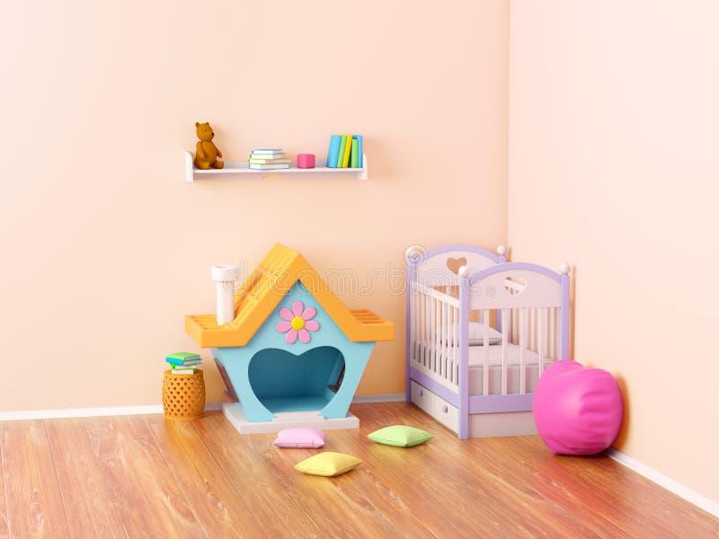 Maison de gingembre de pièce de bébé illustration stock
