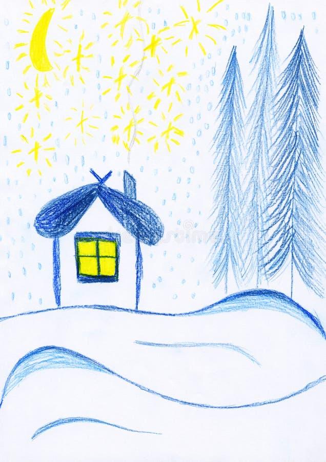 Maison de l'hiver, dessin de gosses illustration de vecteur