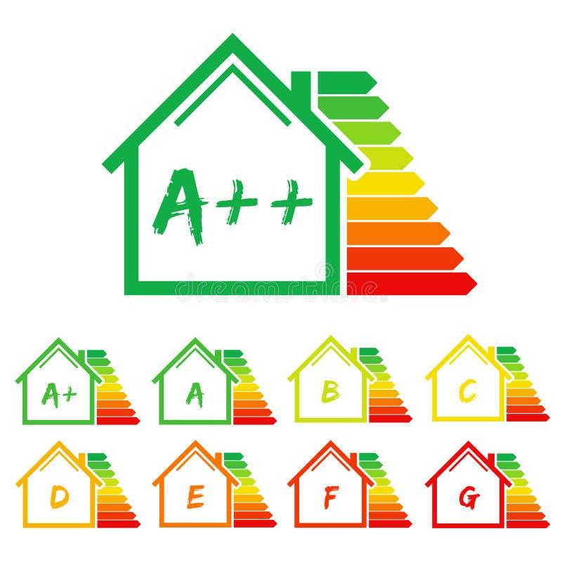 Maison de label de rendement énergétique illustration stock