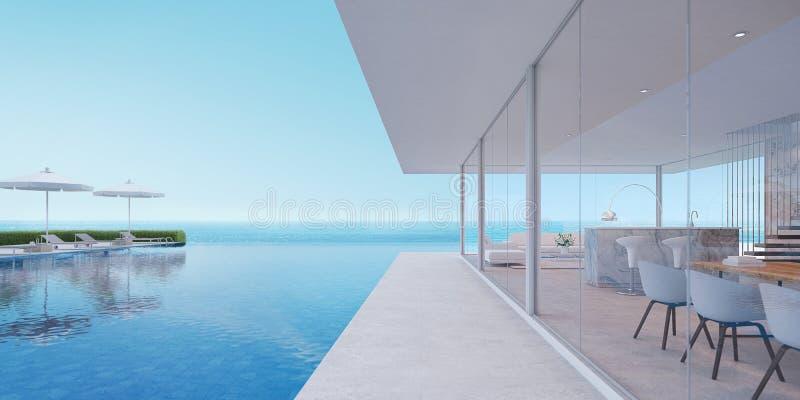 Maison de luxe avec la vue de mer illustration de vecteur