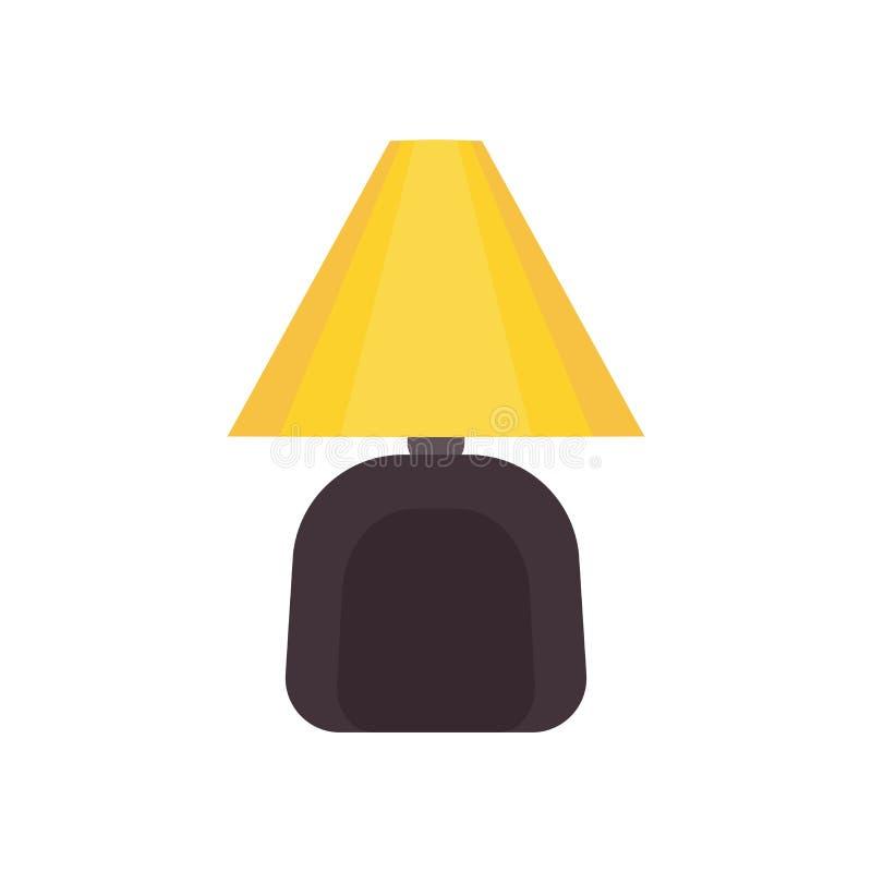 Maison de meubles d'icône de vecteur de lampe de chevet Style intérieur de chambre à coucher d'ampoule de Tableau Salon plat d'éq illustration de vecteur