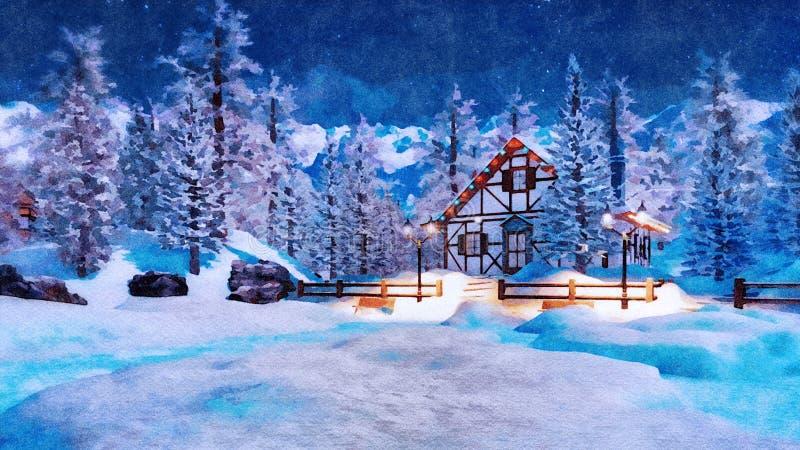 Maison de montagne la nuit neigeux hiver dans l'aquarelle illustration stock