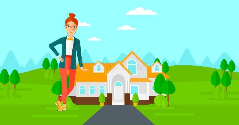 Maison de offre de vrai agent immobilier illustration stock