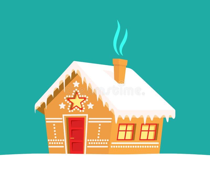 Maison de pain d'épice Noël, nouvelle année, carte de vacances d'hiver illustration libre de droits