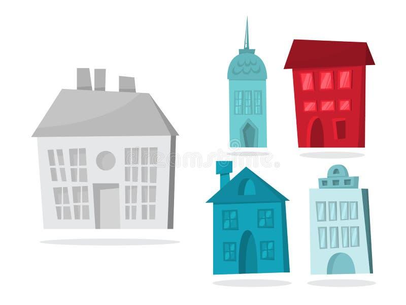 Maison de papier de Noël réglée avec le bâtiment mignon illustration stock