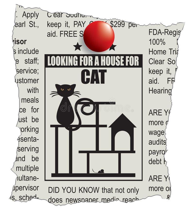 Maison de petites annonces pour un chat illustration libre de droits