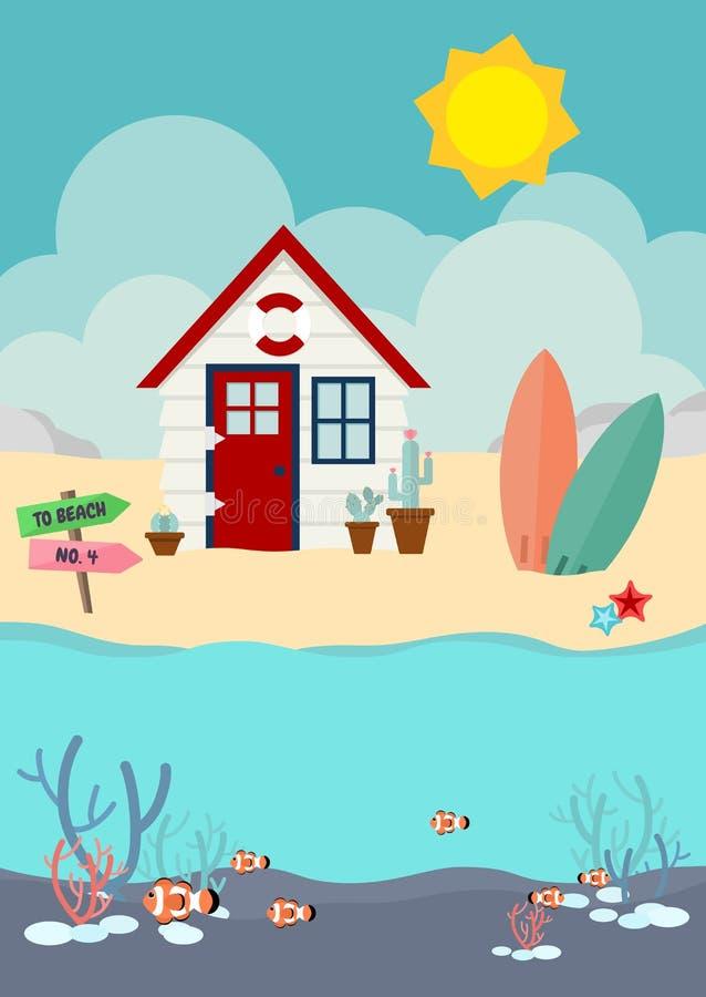 Maison de plage et cactus et planche de surf sur la plage avec des clownfish en mer illustration libre de droits