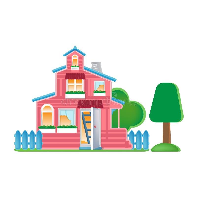 Maison de poupée avec la terre et la barrière autour Bâtiment d'aspect, façade illustration libre de droits