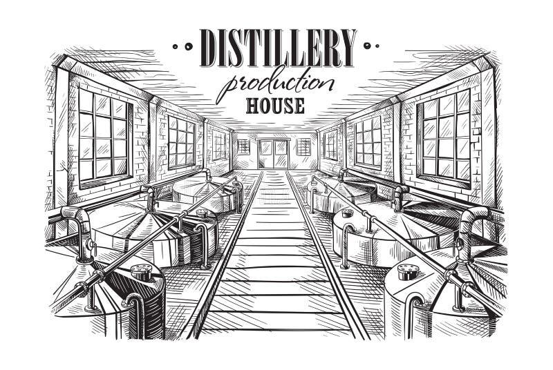 Maison de production de distillerie illustration libre de droits