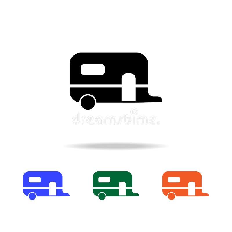 maison de remorque sur l'icône de roues Éléments d'icône simple de Web dans la couleur multi Icône de la meilleure qualité de con illustration de vecteur