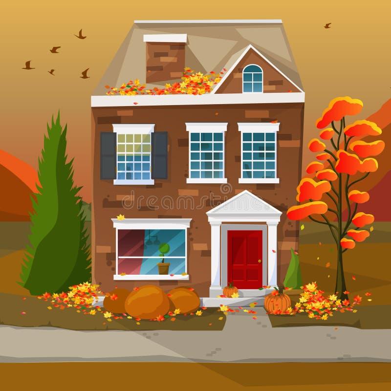 Maison de saison d'automne illustration libre de droits