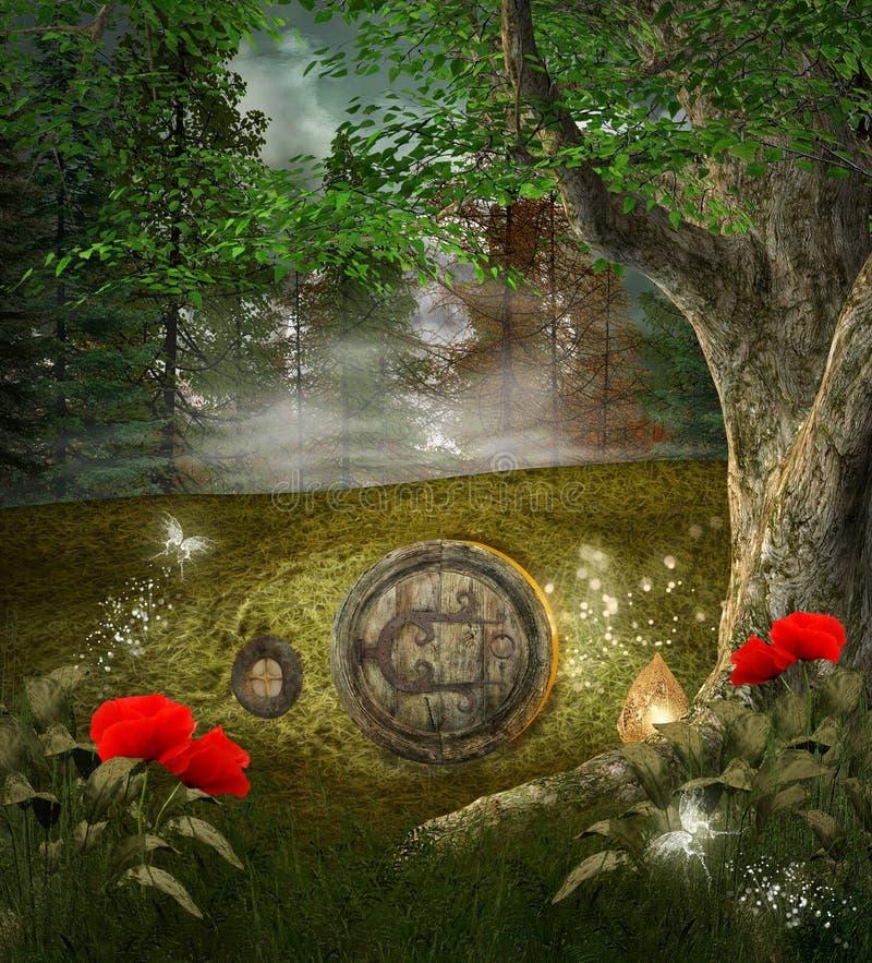 Maison de secret d'elfes illustration libre de droits