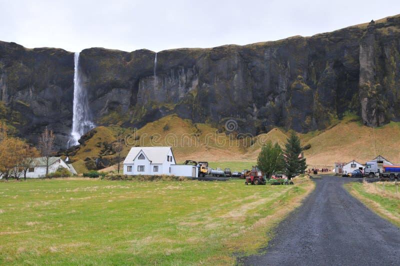Maison de Skogafoss photo stock