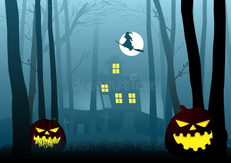Maison de sorcière dans les bois effrayants foncés illustration libre de droits