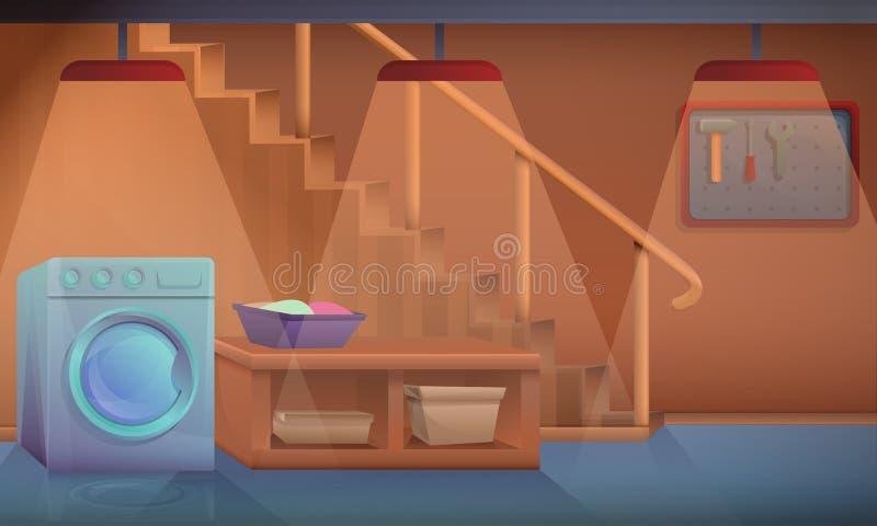 Maison de sous-sol de bande dessinée avec la machine à laver illustration libre de droits