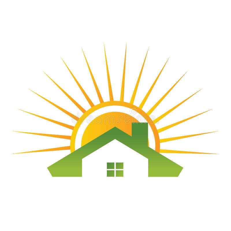 Maison de toit avec le soleil