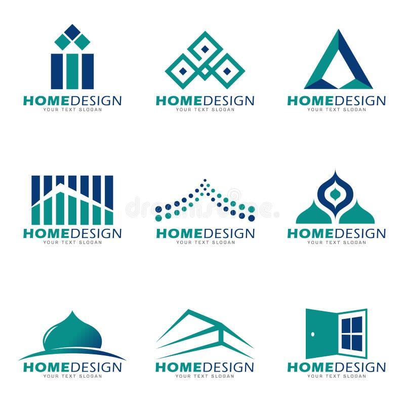 Maison de vert bleu moderne et scénographie de vecteur de logo de boutique illustration libre de droits